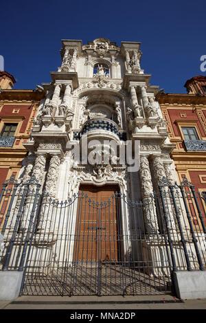 The baroque facade of Palace of San Telmo, Seville, Spain - Stock Photo