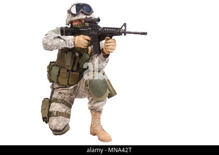 US soldier with rifle on white background - Stock Photo