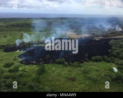 Aerial view of fissure 17 caused by the Kilauea volcano May 13, 2018 in Hawaii. The recent eruption continues destroying homes, forcing evacuations and spewing lava and poison gas on the Big Island of Hawaii. - Stock Photo