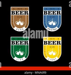 Beer Label Design. Label for live, light, dark, original beer. Set. black background - Stock Photo