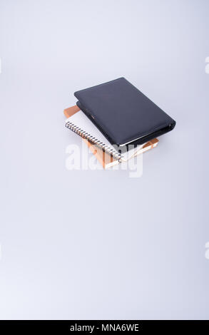 notebook or black leather notebook on the blackground - Stock Photo
