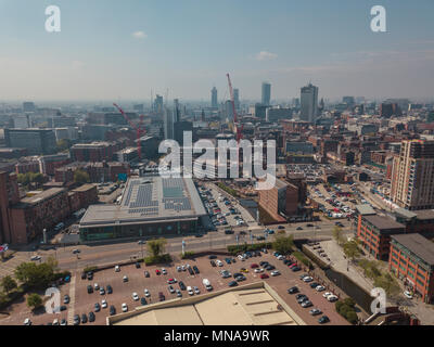 Manchester City Centre Drone Aerial View Above Building Work Skyline Construction Blue Sky Summer Deansgate - Stock Photo