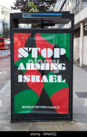London, UK. 15th May, 2018. A subvert in central London calling on the UK to cease arms sales to Israel appeared on the day after at least 58 Palestinians taking place in the Great March of Return protest were killed by Israeli snipers in Gaza and at least 1,700 were injured. Palestinians killed included 14 children, a baby and a double amputee. Israel's use of live ammunition against a protest has been widely criticised by other states. - Stock Photo