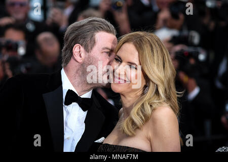 Cannes, France. 15th May 2018. John Travolta and Kelly Preston on the 'Solo : A Star Wars Story' Red Carpet on Tuesday 15 May 2018 as part of the 71st International Cannes Film Festival held at Palais des Festivals, Cannes. Pictured: John Travolta , Kelly Preston. Picture by Julie Edwards. Credit: Julie Edwards/Alamy Live News - Stock Photo