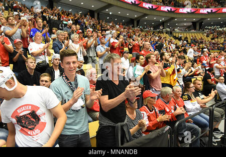 Fans after the match between Canada and Germany on 15.05.2018 in Herning, Denmark. (Photo by Marco Leipold/City-Press GbR) | usage worldwide - Stock Photo