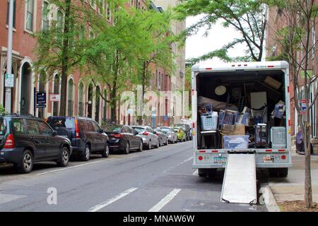 May 14, 2018 - Philadelphia, PA, USA:  Moving day in the Rittenhouse Square neighborhood of Philadelphia, Pennsylvania. - Stock Photo