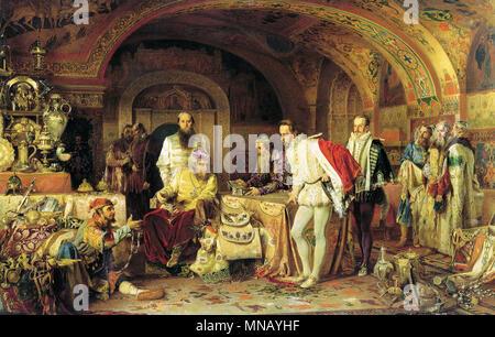 Ivan the Terrible Showing His Treasures to Jerome Horsey by Alexander Litovchenko (1875) - Stock Photo