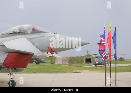 MIHAIL KOGALNICENU, ROMANIA - APRIL 27 Royal Air Force Eurofighter Typhoon fighter jet is presented to the press, at the Mihail Kogalniceanu military  - Stock Photo