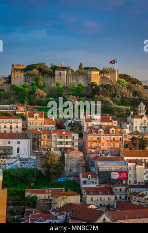 Lisbon city, view of the scenic medieval Castelo de Sao Jorge sited high above the old town Mouraria quarter in the center of Lisbon, Portugal.