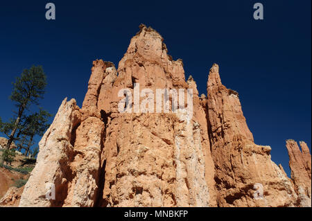 Spectacular red rock formation agains a deep blue sky, Bryce Canyon National Park, Utah, USA. - Stock Photo