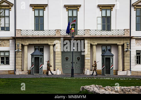 Budapest, Hungary: April 11, 2018 - Guard at the entrance of the Presidential palace, Sandor Palacea - Stock Photo