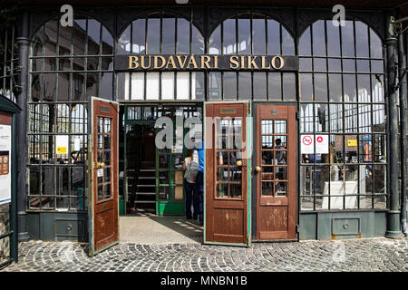 The entrance to the funicular station 'Budavari Siklo' .Funicular has operated for the public since 2 March 1870. Hungary - Stock Photo