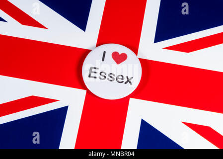 LONDON, UK - APRIL 27TH 2018: An I Love Essex badge pictured over the UK flag, on 27th April 2018. - Stock Photo