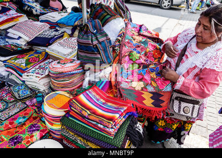 Mexico City Mexico Ciudad de Federal District Distrito DF D.F. CDMX Mexican Hispanic Coyoacan Del Carmen Mercado de Coyoacan market vendor folk art handicrafts textiles indigenous woman North America American - Stock Photo