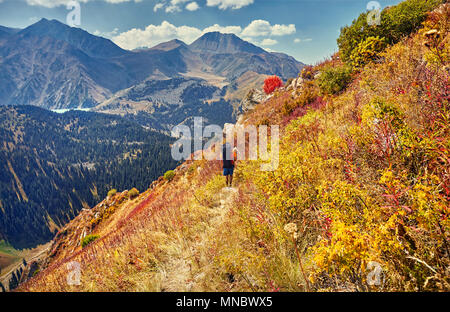 Hiker with big backpack walking on the trail at autumn yellow trees in the mountains - Stock Photo