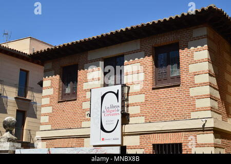 Facade Of The Old Cervantes House In Alcala De Henares. Architecture Travel History. May 5, 2018. Alcala De Henares Madrid Spain. - Stock Photo
