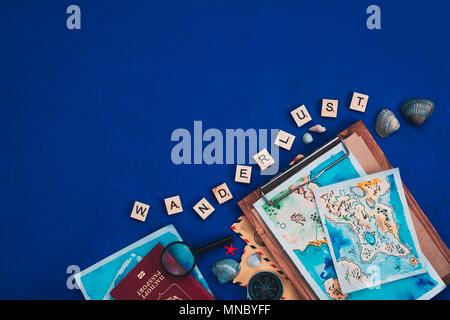 Sea travel and exploration concept. Watercolor maps, passport, compass, binoculars, envelopes, magnifying glass, and Wanderlust wooden letters flat la - Stock Photo