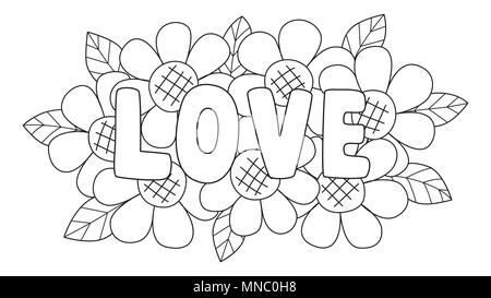 Clean Lines The Letters LOVE Lay On Cute Flowers For Design Element And Coloring Book Page