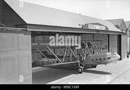 Handley Page HP.42 G-AAXD, 'HORATIUS', in the Imperial airways hangar at Croydon Airport near London in the 1930s. - Stock Photo