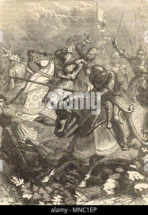 The Battle of the Spurs, also known as Battle of Guinegate, 16 August 1513. A part of the Holy League, during the ongoing Italian Wars - Stock Photo