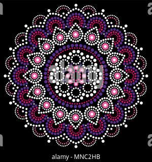 Mandala dot painting vector design, Aboriginal style, Australian folk art boho ornament in pink and purple - Stock Photo
