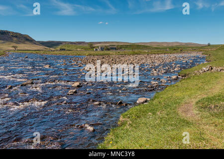 North Pennines landscape, the confluence of the river Tees and Harwood Beck, Upper Teesdale, UK - Stock Photo