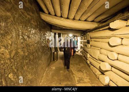 One of the tunnels inside the Wieliczka Salt Mine ( Kopalnia soli Wieliczka ), Tourist Route. Everything is made of salt excepting the wood pillars. A - Stock Photo