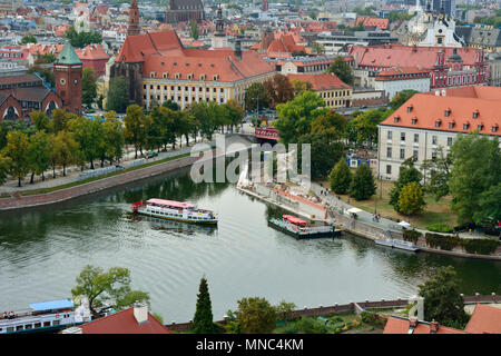 The Ostrow Tumski district (Cathedral island) and the Oder river. Wroclaw, Poland - Stock Photo