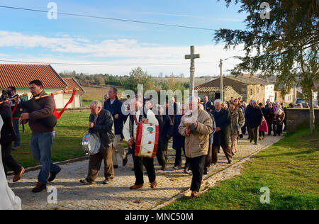 The procession during the Winter Solstice Festivities in Constantim. Tras-os-Montes, Portugal - Stock Photo