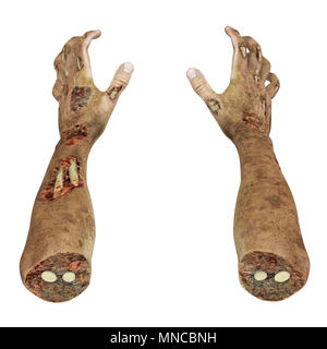 scary zombie hands on white background. 3D illustration, clipping path - Stock Photo