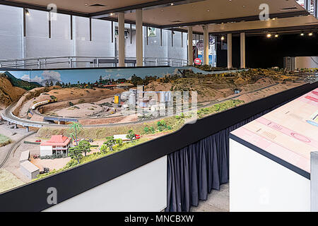 Made as authentis as possible this huge model railway layout is maintained by vounteers - Stock Photo