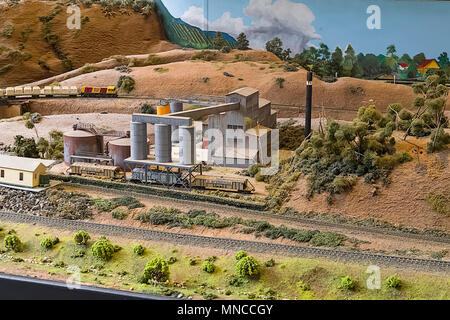 A small section of a huge model railway layout. Every detail is as authentis as possible and maintained by volunteers - Stock Photo