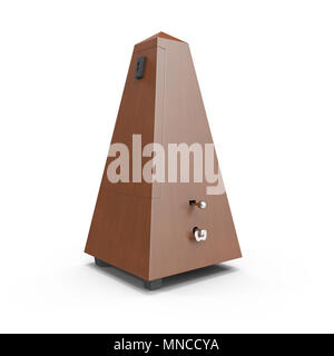 Classic old metronome isolated on white background. 3D illustration - Stock Photo