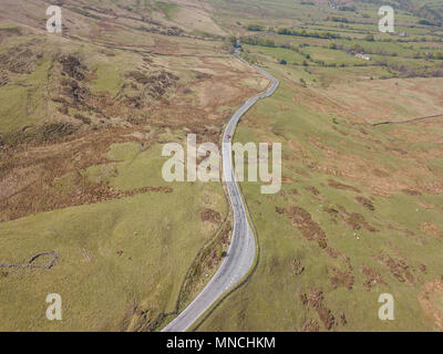 Countryside Road Hills Above Drone Aerial View Landscape Edale Peak district - Stock Photo