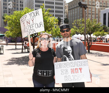 March for Science Los Angeles, held in Pershing Square, Los Angeles, California.  Featuring: Katie Reyes, Alex Reyes Where: Los Angeles, California, United States When: 14 Apr 2018 Credit: Sheri Determan/WENN.com - Stock Photo