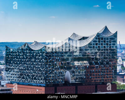 Elbphilharmonie  Hamburg - Elbe Philharmonic Hall - Elbi - Hamburg Concert Hall - architect Herzog & De Meuron - opened 2017 construction started 2007 - Stock Photo