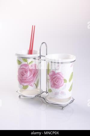 Kitchen utensils holder or Cutlery holder on background - Stock Photo