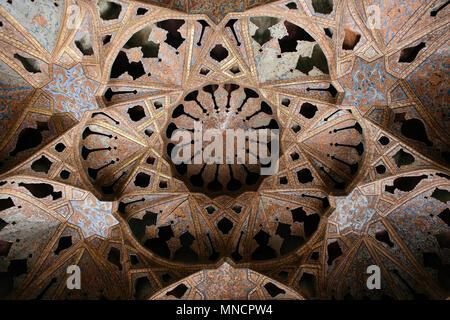 Isfahan, Iran - October 16, 2017: Beautiful ceiling inside the Ali Qapu Grand Palace. - Stock Photo