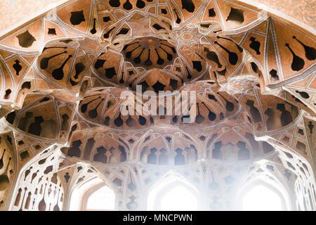 Isfahan, Iran - October 16: Beautiful ceiling at the Ali Qapu Palace. - Stock Photo