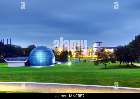 Wolfsburg Germany October 9 2017 : Planetarium in Wolfsburg at dusk - Stock Photo