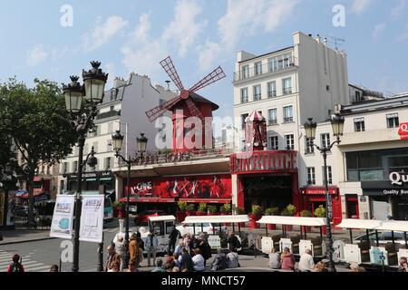 Moulin Rouge, Paris sights, Paris, France, 15 May 2018, Photo by Richard Goldschmidt - Stock Photo