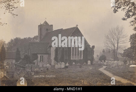 Vintage Photograph of The Interior of St Michael & All Angels Church, Chalton, Hampshire, UK - Stock Photo