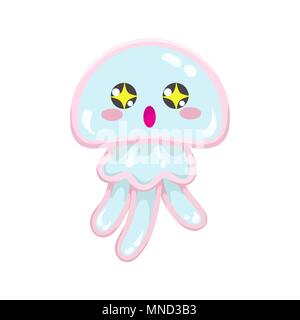 Kawaii vector blue jellyfish, japanese and korean cute style animal emoji with amazed big eyes with stars of exitement, isolated on white - Stock Photo