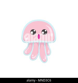 Kawaii vector pink jellyfish, japanese and korean cute style animal emoji with amazed big eyes, isolated on white - Stock Photo