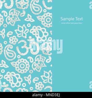Vector card with realistic silver foil border with OM symbol and lotus mandala pattern on blue - template with copy space for cards, invitations and p - Stock Photo