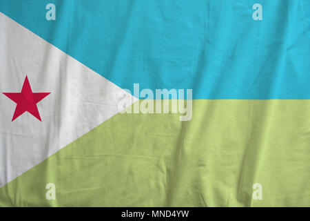 Flag of Djibouti waving in the wind detail. - Stock Photo