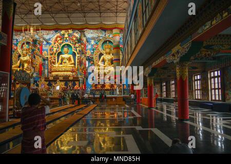 Namdroling Monastery - at Kushalnagar (Bylakuppe) - Coorg, India - Stock Photo