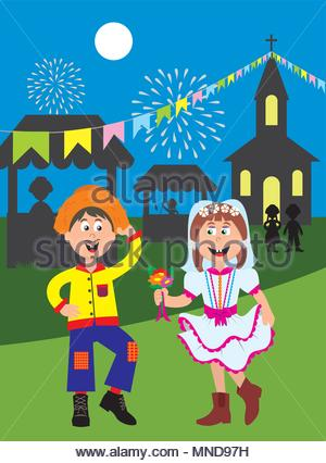 Illustration of a couple of children dressed in typical costume of June party - Festa Junina - Stock Photo