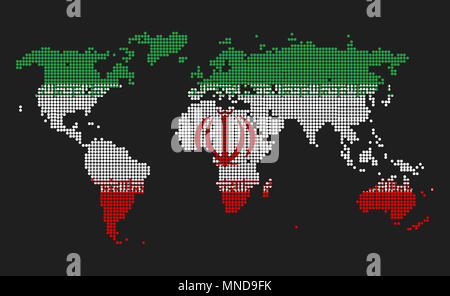 Dotted world map in Iran flag colors isolated on grey background. - Stock Photo