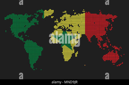 Dotted world map in Senegal flag colors isolated on grey background. - Stock Photo